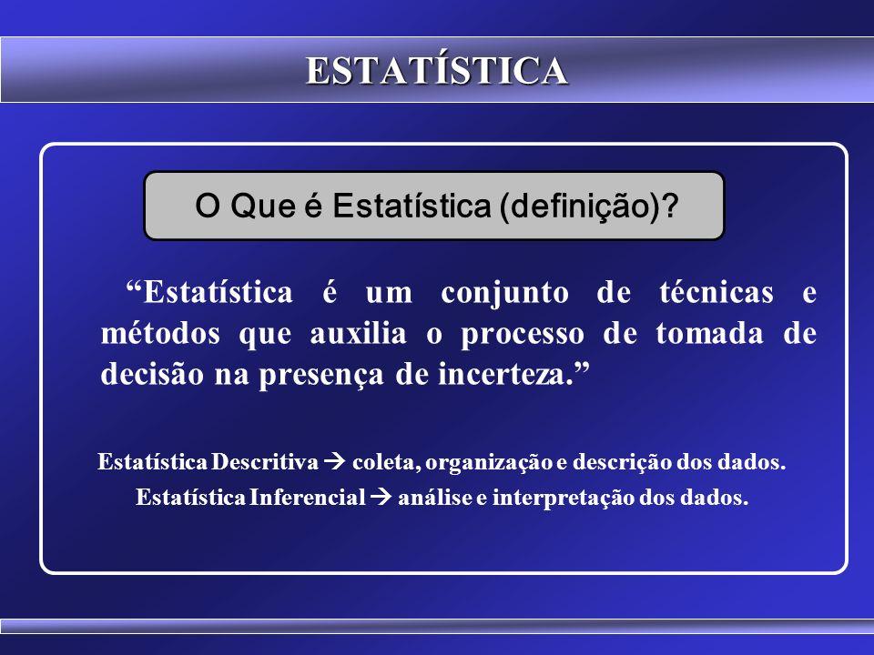 ESTATÍSTICA Os Quartis dividem a disposição em 4 partes iguais Q 1, Q 2, Q 3 Entre cada quartil há 25% dos dados da disposição Posição do Primeiro Quartil (Q 1 ) = (n + 1) / 4 Posição do Segundo Quartil (Q 2 ) = 2.(n + 1) / 4 Posição do Terceiro Quartil (Q 3 ) = 3.(n + 1) / 4 O segundo quartil coincide com a Mediana (Q 2 = Md) QUARTIS