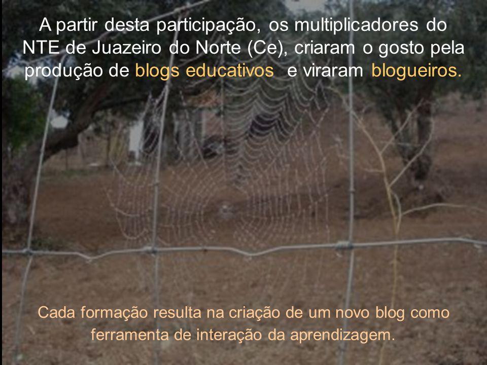 A partir desta participação, os multiplicadores do NTE de Juazeiro do Norte (Ce), criaram o gosto pela produção de blogs educativos e viraram blogueiros.