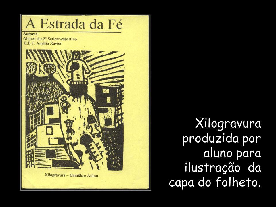 Xilogravura produzida por aluno para ilustração da capa do folheto.