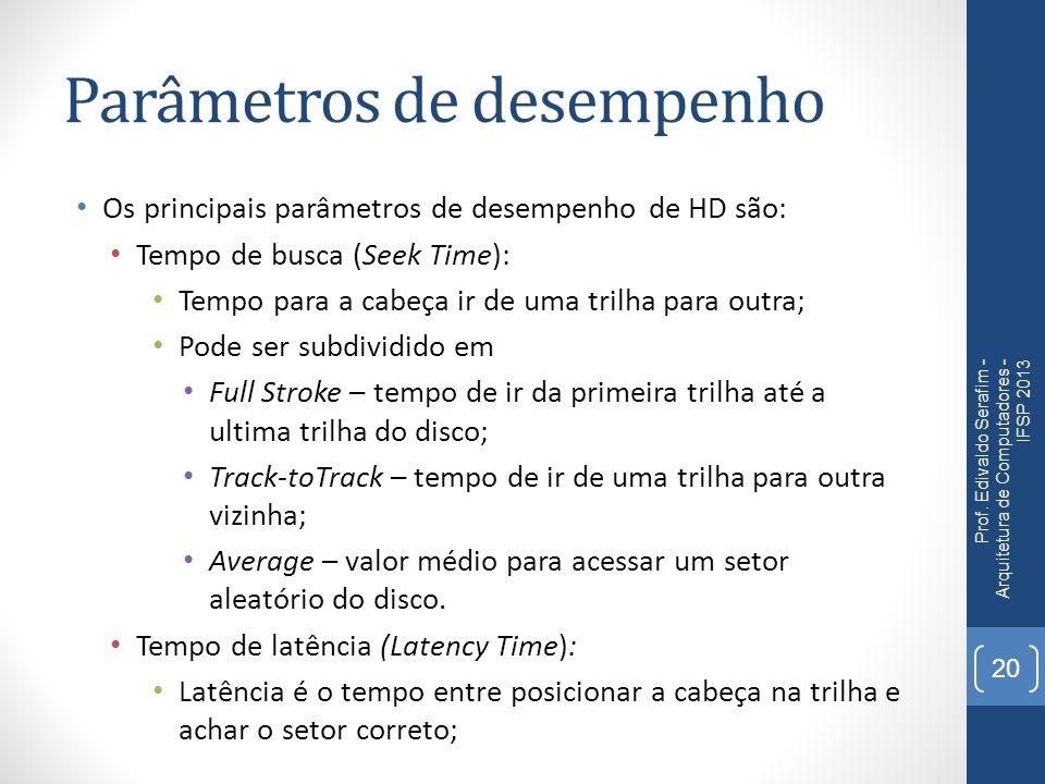 Parâmetros de desempenho Os principais parâmetros de desempenho de HD são: Tempo de busca (Seek Time): Tempo para a cabeça ir de uma trilha para outra