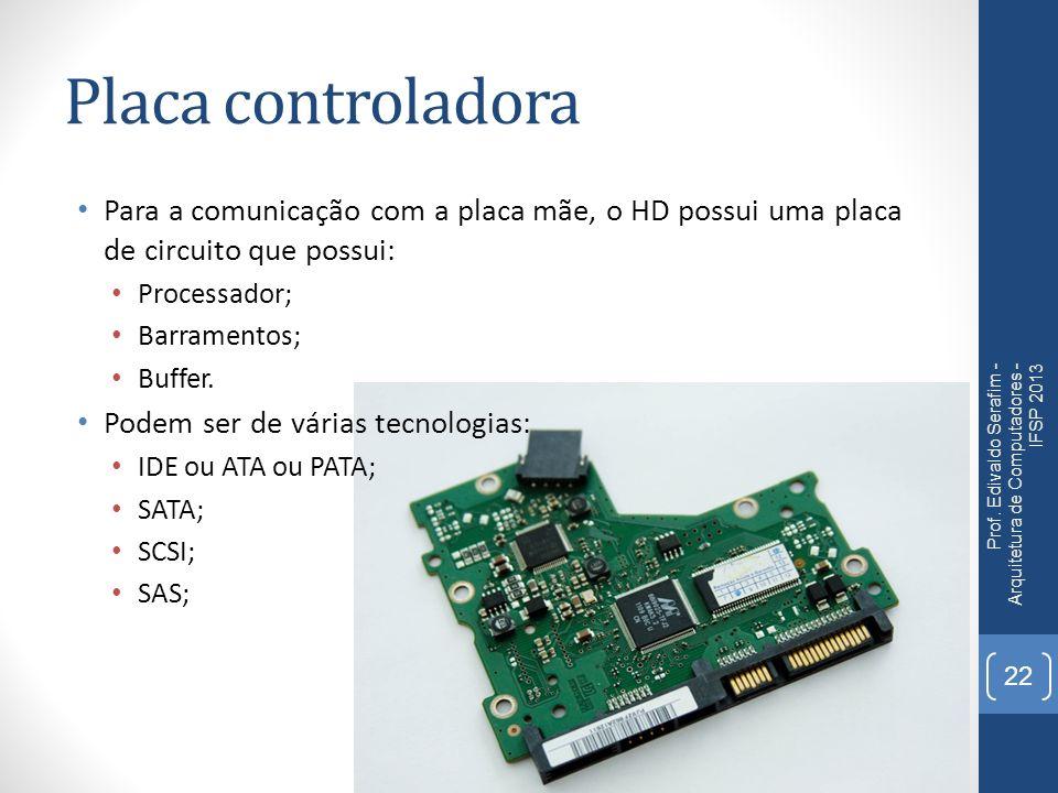 Placa controladora Para a comunicação com a placa mãe, o HD possui uma placa de circuito que possui: Processador; Barramentos; Buffer. Podem ser de vá