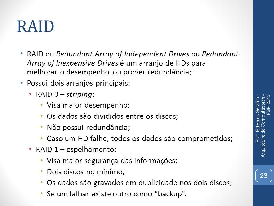 RAID RAID ou Redundant Array of Independent Drives ou Redundant Array of Inexpensive Drives é um arranjo de HDs para melhorar o desempenho ou prover r