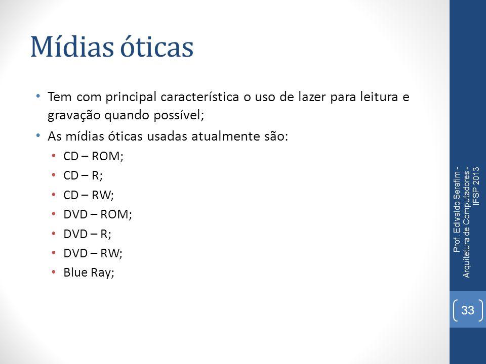 Mídias óticas Tem com principal característica o uso de lazer para leitura e gravação quando possível; As mídias óticas usadas atualmente são: CD – RO
