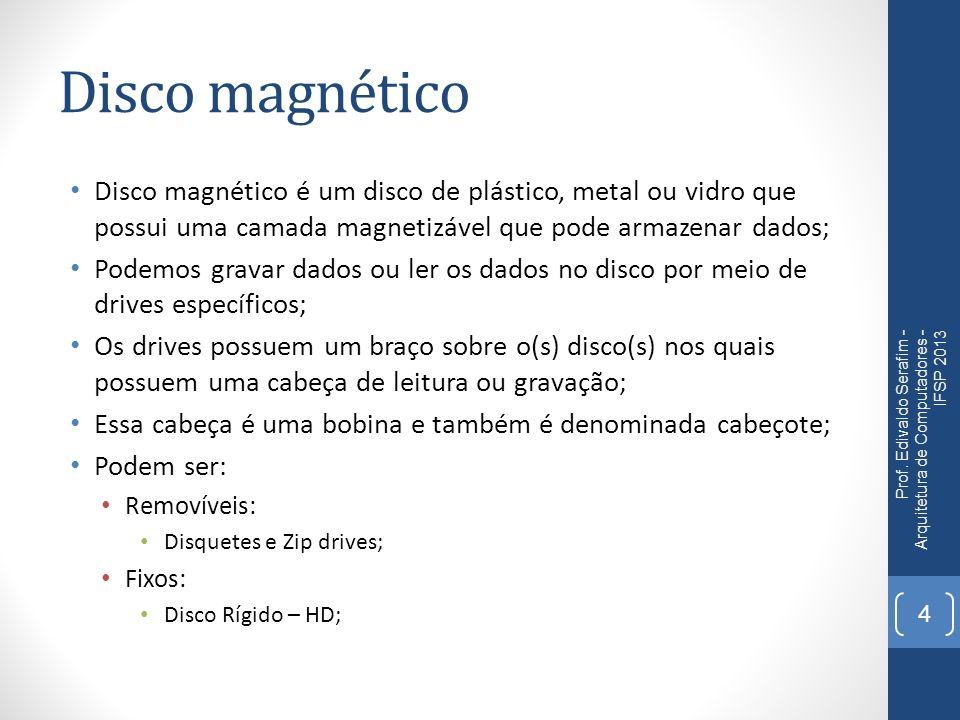 Disco magnético Disco magnético é um disco de plástico, metal ou vidro que possui uma camada magnetizável que pode armazenar dados; Podemos gravar dad