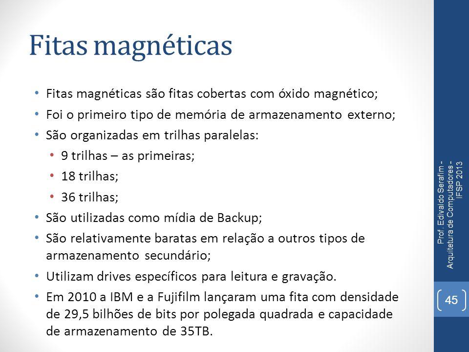 Fitas magnéticas Fitas magnéticas são fitas cobertas com óxido magnético; Foi o primeiro tipo de memória de armazenamento externo; São organizadas em