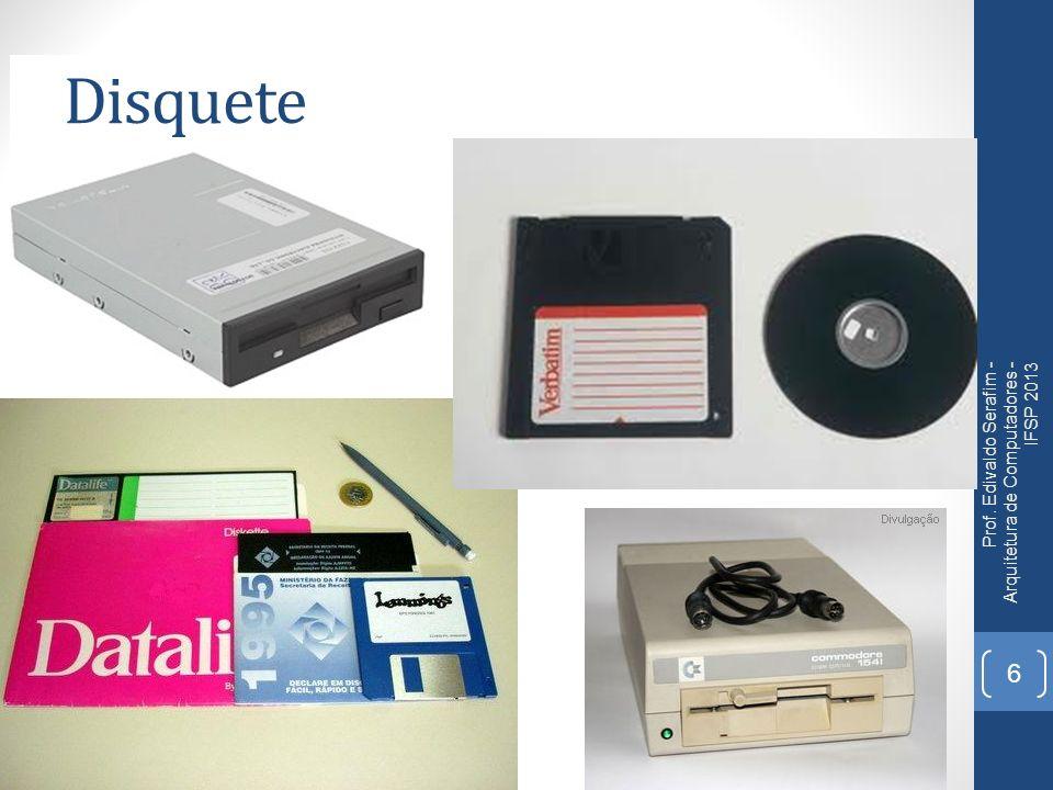 Zip drives Muito utilizado com armazenamento removível na década de 90; Semelhante ao disquete, porém mais seguros e mais densos; Possuiu várias versões: 100 MB; 250 MB; 750 MB.
