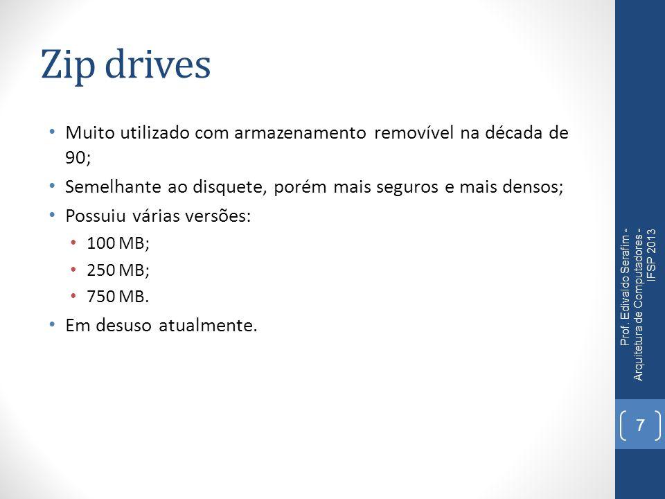Zip drives Muito utilizado com armazenamento removível na década de 90; Semelhante ao disquete, porém mais seguros e mais densos; Possuiu várias versõ