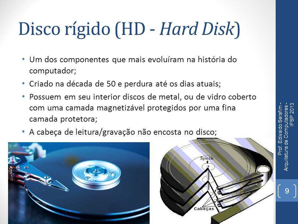 Disco rígido (HD - Hard Disk) Um dos componentes que mais evoluíram na história do computador; Criado na década de 50 e perdura até os dias atuais; Po