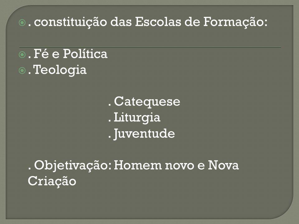 . constituição das Escolas de Formação:. Fé e Política. Teologia. Catequese. Liturgia. Juventude. Objetivação: Homem novo e Nova Criação