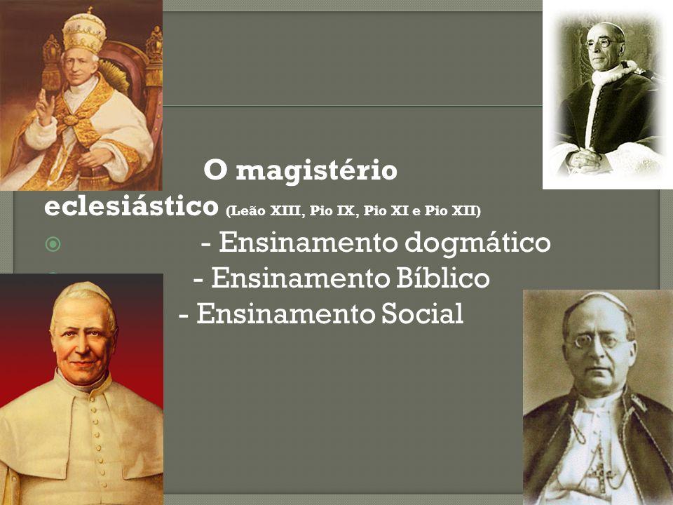 - O magistério eclesiástico (Leão XIII, Pio IX, Pio XI e Pio XII) - Ensinamento dogmático - Ensinamento Bíblico - Ensinamento Social