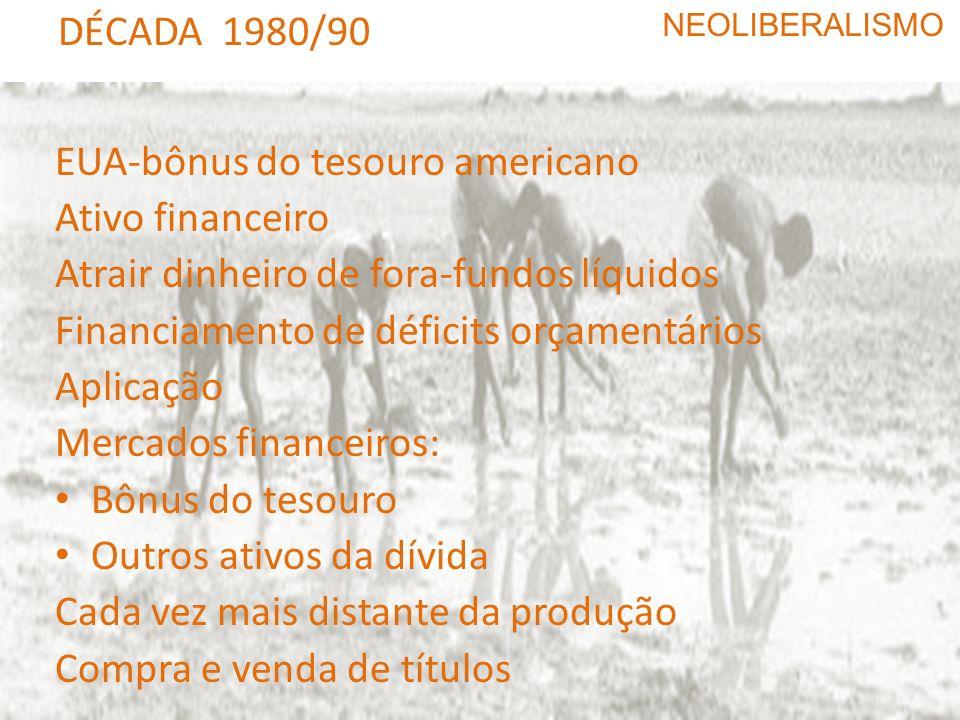 DÉCADA 1980/90 NEOLIBERALISMO Ampliação da liberalização monetária (fim do câmbio fixo) Crise do Leste europeu Queda do muro Reordenação das relações