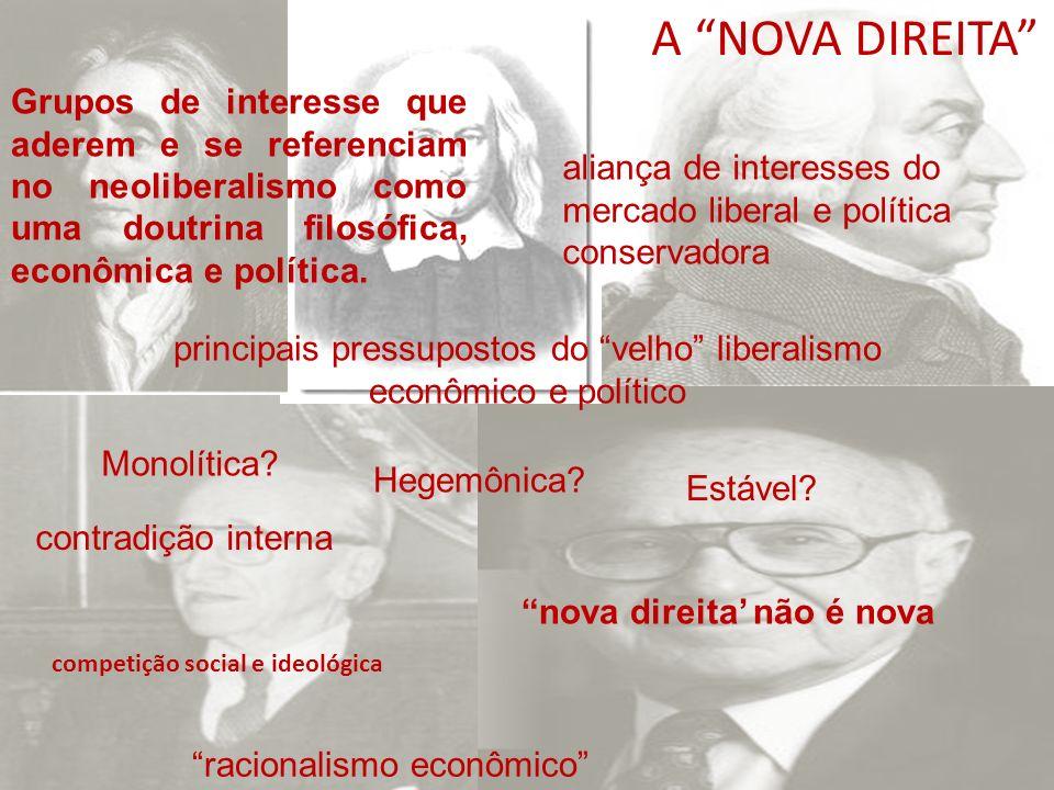 A NOVA DIREITA Grupos de interesse que aderem e se referenciam no neoliberalismo como uma doutrina filosófica, econômica e política.