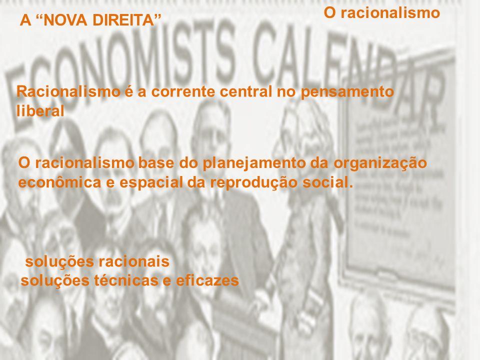 Racionalismo é a corrente central no pensamento liberal O racionalismo base do planejamento da organização econômica e espacial da reprodução social.