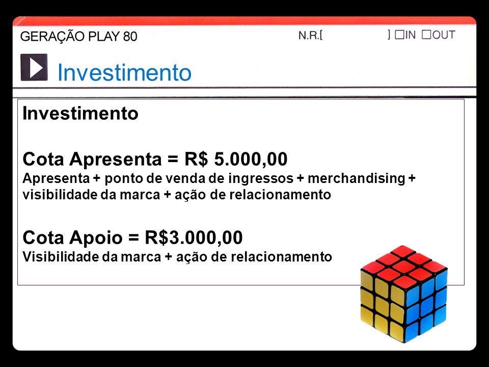 Investimento Cota Apresenta = R$ 5.000,00 Apresenta + ponto de venda de ingressos + merchandising + visibilidade da marca + ação de relacionamento Cot