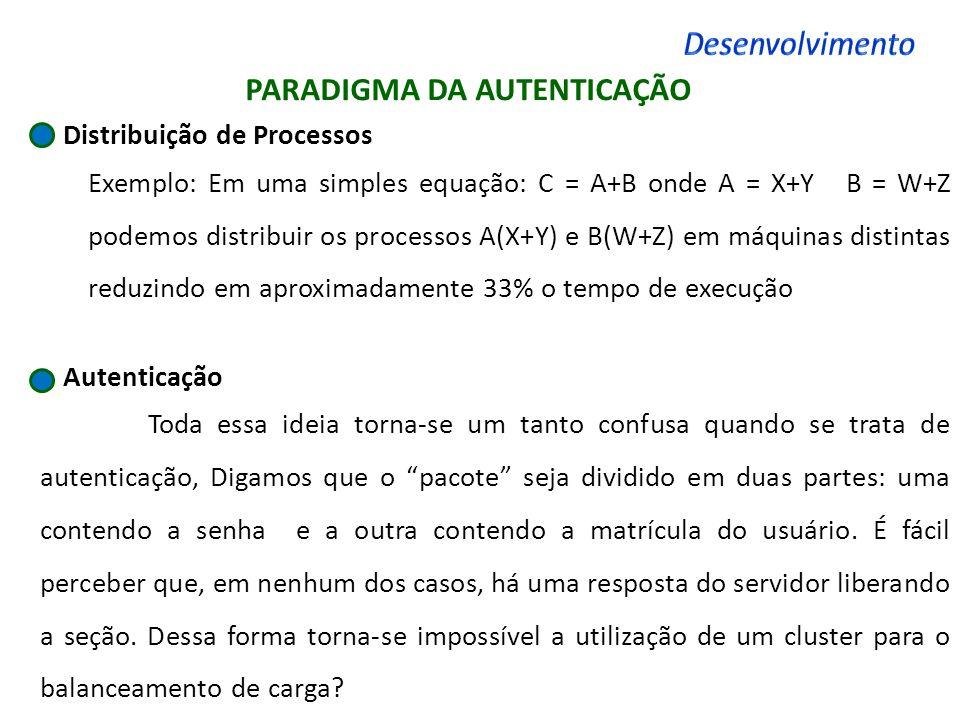 PARADIGMA DA AUTENTICAÇÃO Distribuição de Processos Exemplo: Em uma simples equação: C = A+B onde A = X+Y B = W+Z podemos distribuir os processos A(X+