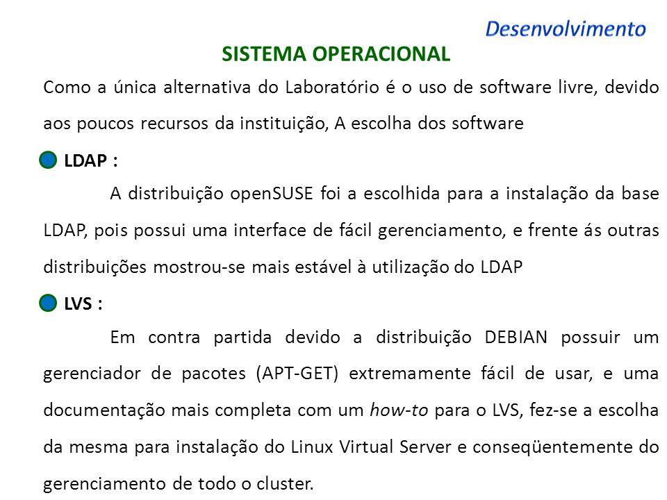 SISTEMA OPERACIONAL Como a única alternativa do Laboratório é o uso de software livre, devido aos poucos recursos da instituição, A escolha dos softwa