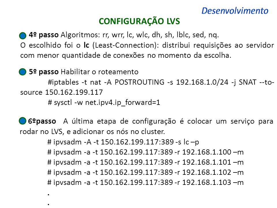 CONFIGURAÇÃO LVS 4º passo Algoritmos: rr, wrr, lc, wlc, dh, sh, lblc, sed, nq. O escolhido foi o lc (Least-Connection): distribui requisições ao servi