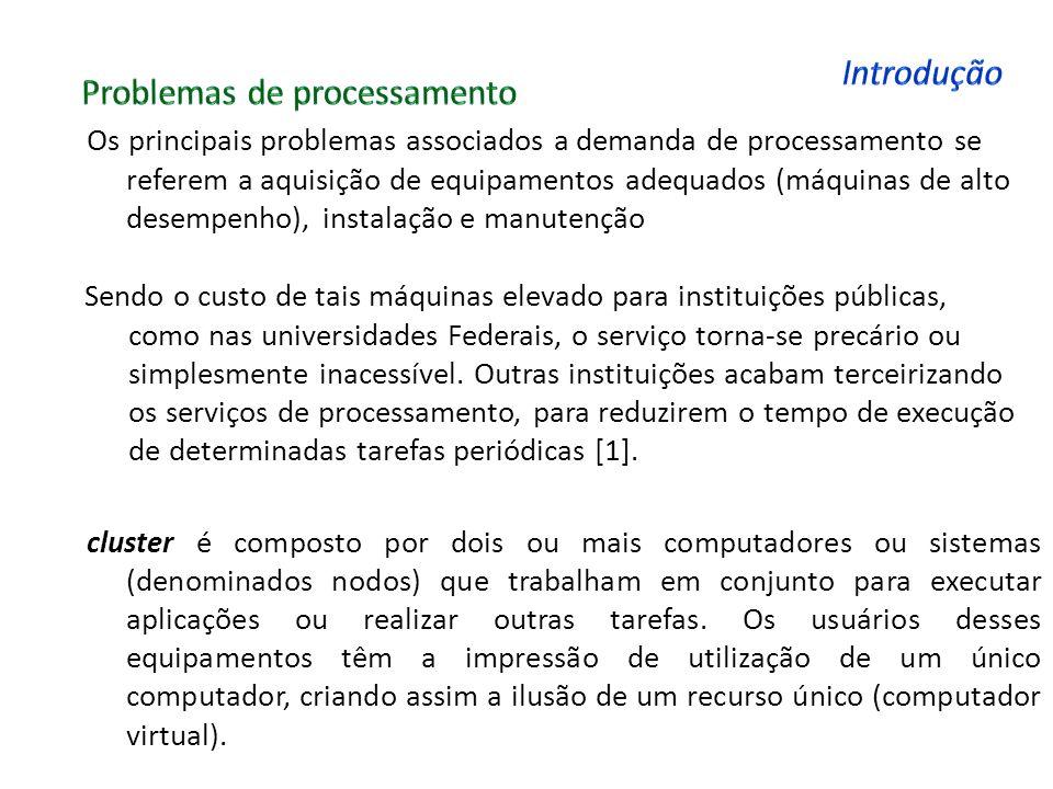 Os principais problemas associados a demanda de processamento se referem a aquisição de equipamentos adequados (máquinas de alto desempenho), instalaç