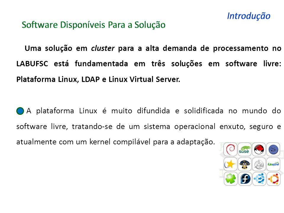 SISTEMA OPERACIONAL Como a única alternativa do Laboratório é o uso de software livre, devido aos poucos recursos da instituição, A escolha dos software LDAP : A distribuição openSUSE foi a escolhida para a instalação da base LDAP, pois possui uma interface de fácil gerenciamento, e frente ás outras distribuições mostrou-se mais estável à utilização do LDAP LVS : Em contra partida devido a distribuição DEBIAN possuir um gerenciador de pacotes (APT-GET) extremamente fácil de usar, e uma documentação mais completa com um how-to para o LVS, fez-se a escolha da mesma para instalação do Linux Virtual Server e conseqüentemente do gerenciamento de todo o cluster.