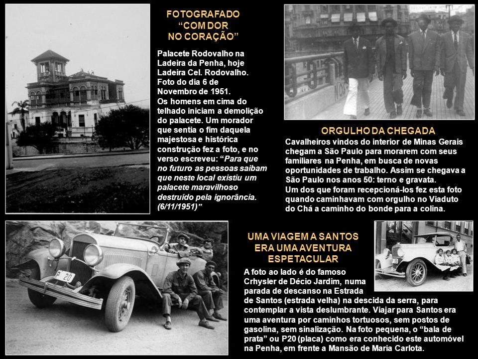 Palacete Rodovalho na Ladeira da Penha, hoje Ladeira Cel. Rodovalho. Foto do dia 6 de Novembro de 1951. Os homens em cima do telhado iniciam a demoliç