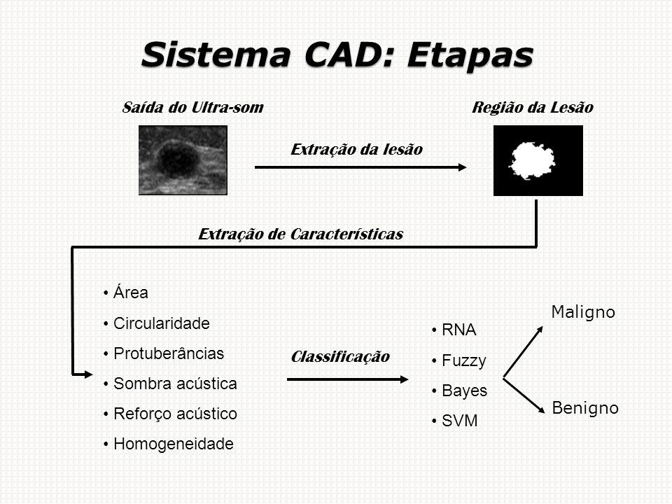 Região da Lesão Extração da lesão Área Circularidade Protuberâncias Sombra acústica Reforço acústico Homogeneidade RNA Fuzzy Bayes SVM Classificação Saída do Ultra-som Extração de Características Sistema CAD: Etapas Maligno Benigno