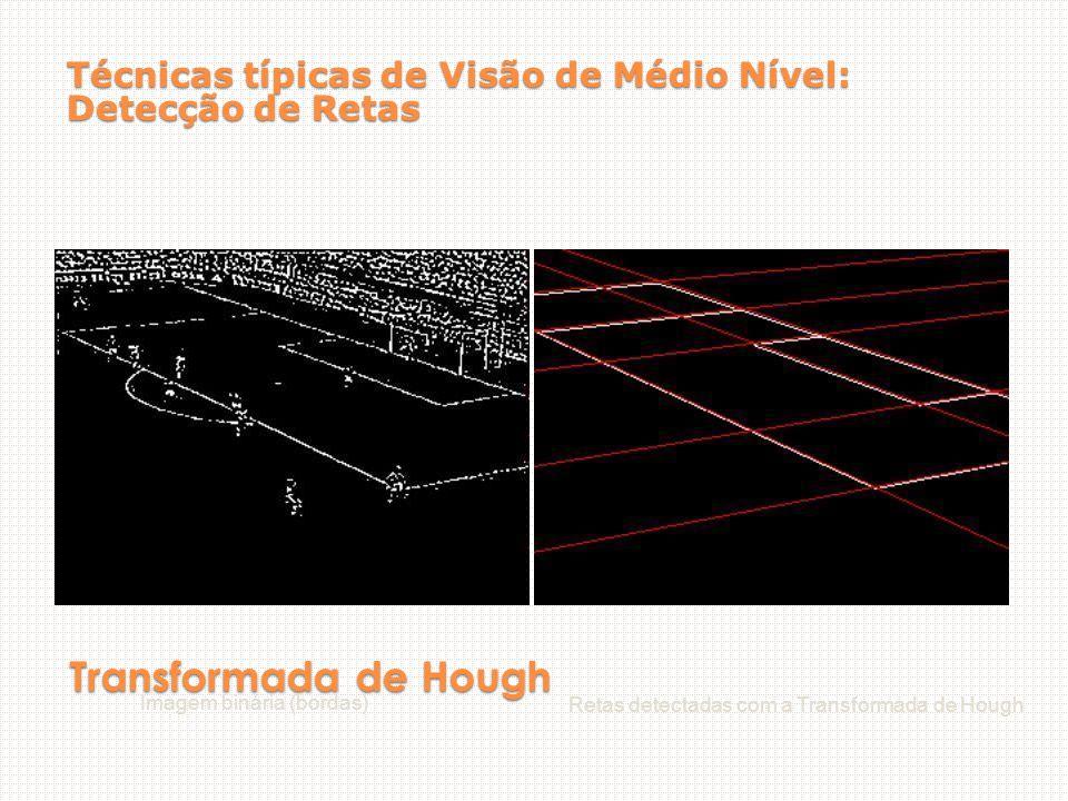Transformada de Hough Imagem binária (bordas) Retas detectadas com a Transformada de Hough Técnicas típicas de Visão de Médio Nível: Detecção de Retas