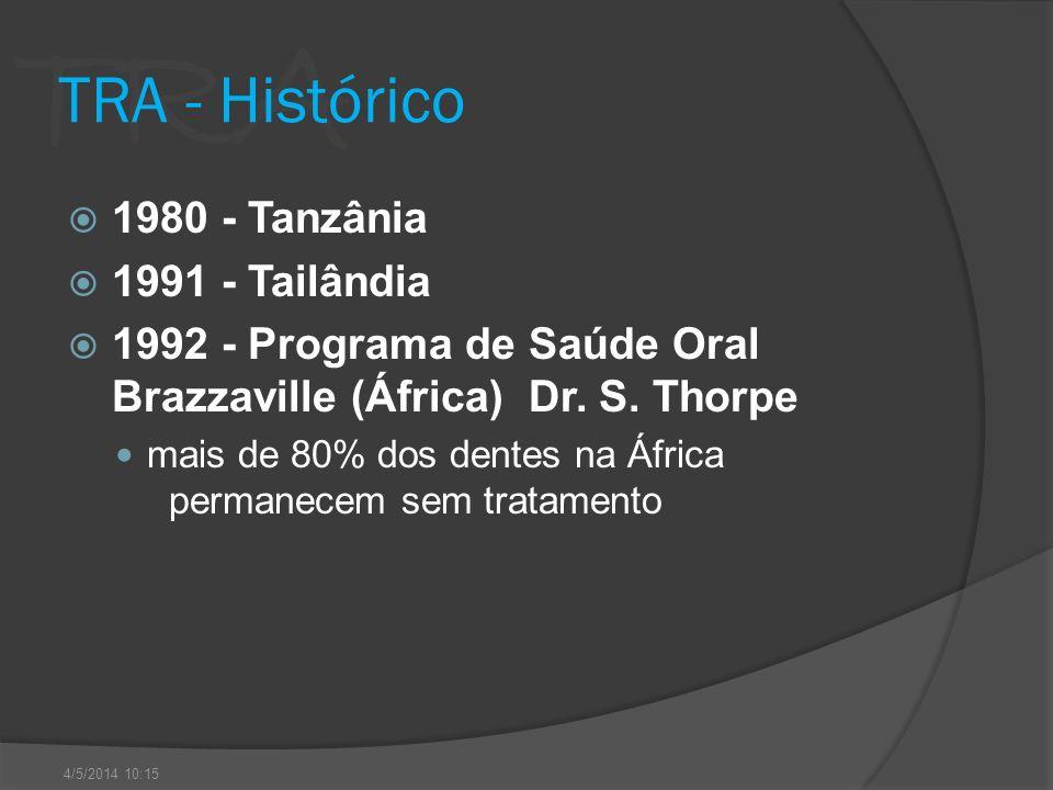 TRA TRA - Histórico 1980 - Tanzânia 1991 - Tailândia 1992 - Programa de Saúde Oral Brazzaville (África) Dr. S. Thorpe mais de 80% dos dentes na África