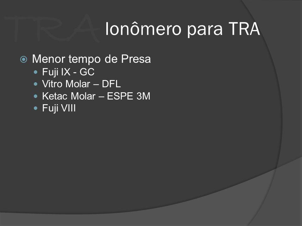 TRA Ionômero para TRA Menor tempo de Presa Fuji IX - GC Vitro Molar – DFL Ketac Molar – ESPE 3M Fuji VIII