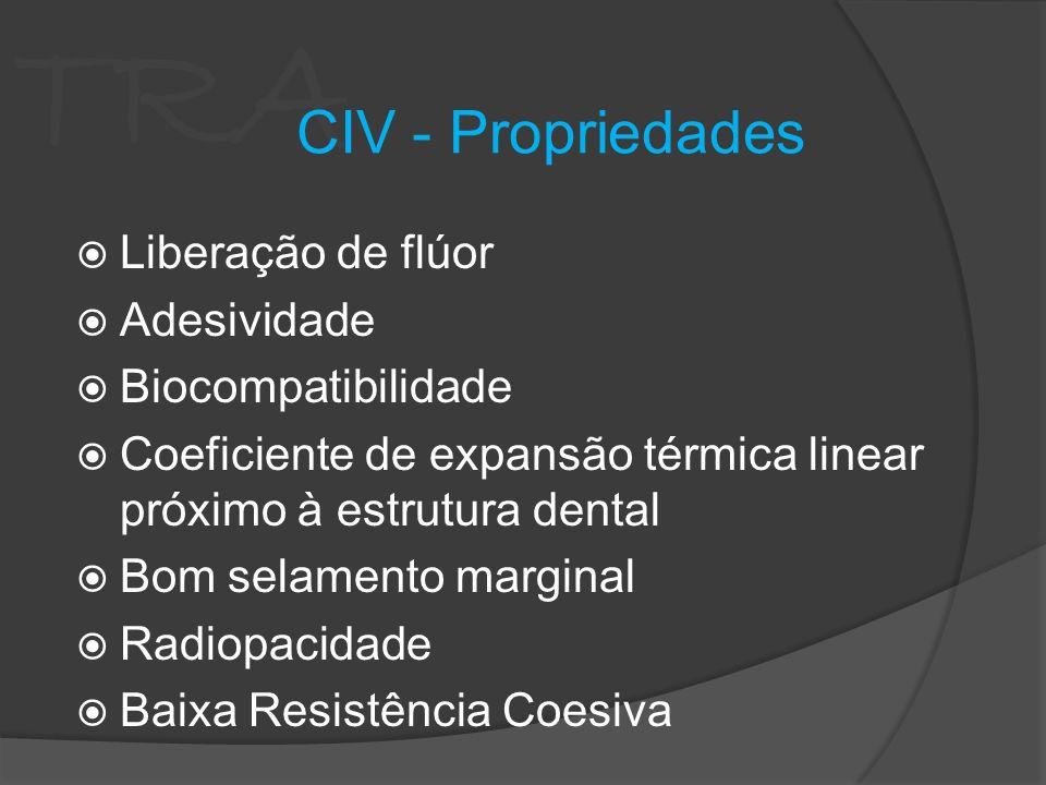 TRA Liberação de flúor Adesividade Biocompatibilidade Coeficiente de expansão térmica linear próximo à estrutura dental Bom selamento marginal Radiopa