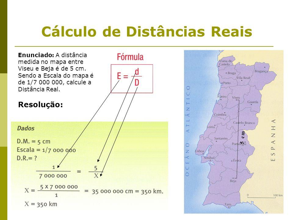 Cálculo de Distâncias Reais Enunciado: A distância medida no mapa entre Viseu e Beja é de 5 cm. Sendo a Escala do mapa é de 1/7 000 000, calcule a Dis