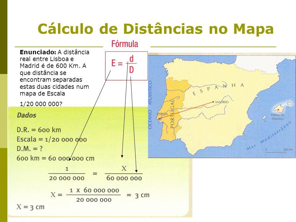 Cálculo de Distâncias no Mapa Enunciado: A distância real entre Lisboa e Madrid é de 600 Km. A que distância se encontram separadas estas duas cidades