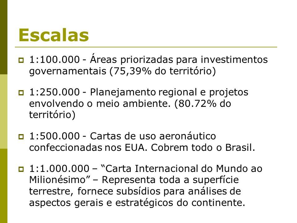 Escalas 1:100.000 - Áreas priorizadas para investimentos governamentais (75,39% do território) 1:250.000 - Planejamento regional e projetos envolvendo