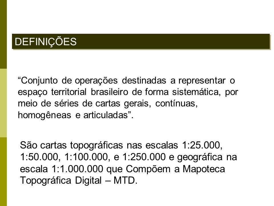 Conjunto de operações destinadas a representar o espaço territorial brasileiro de forma sistemática, por meio de séries de cartas gerais, contínuas, h