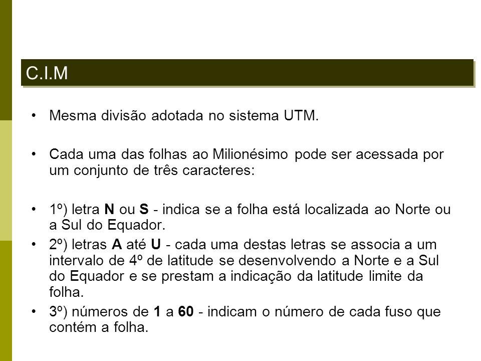 C.I.M Mesma divisão adotada no sistema UTM. Cada uma das folhas ao Milionésimo pode ser acessada por um conjunto de três caracteres: 1º) letra N ou S