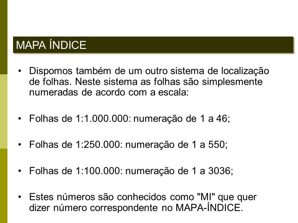 MAPA ÍNDICE Dispomos também de um outro sistema de localização de folhas. Neste sistema as folhas são simplesmente numeradas de acordo com a escala: F