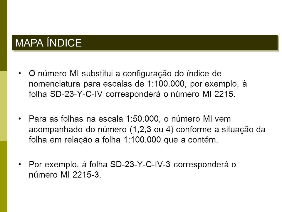 O número MI substitui a configuração do índice de nomenclatura para escalas de 1:100.000, por exemplo, à folha SD-23-Y-C-IV corresponderá o número MI