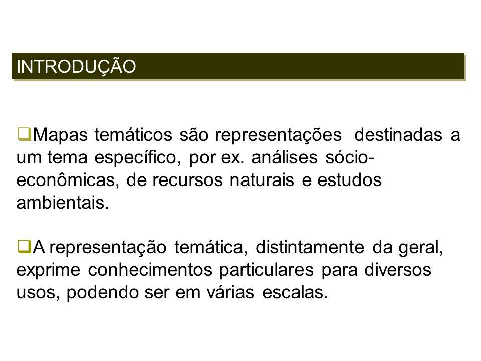 INTRODUÇÃO Mapas temáticos são representações destinadas a um tema específico, por ex. análises sócio- econômicas, de recursos naturais e estudos ambi
