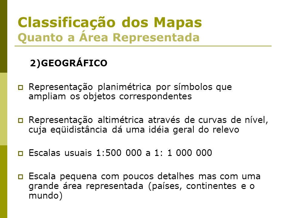 2)GEOGRÁFICO Representação planimétrica por símbolos que ampliam os objetos correspondentes Representação altimétrica através de curvas de nível, cuja