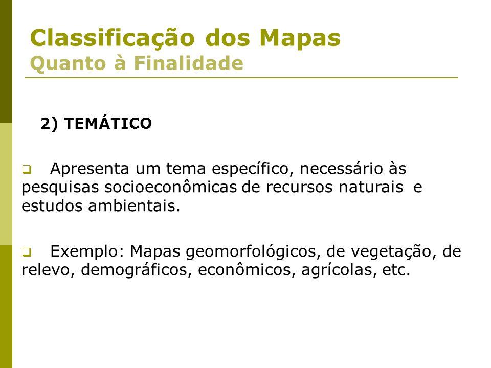 Classificação dos Mapas Quanto à Finalidade 2) TEMÁTICO Apresenta um tema específico, necessário às pesquisas socioeconômicas de recursos naturais e e