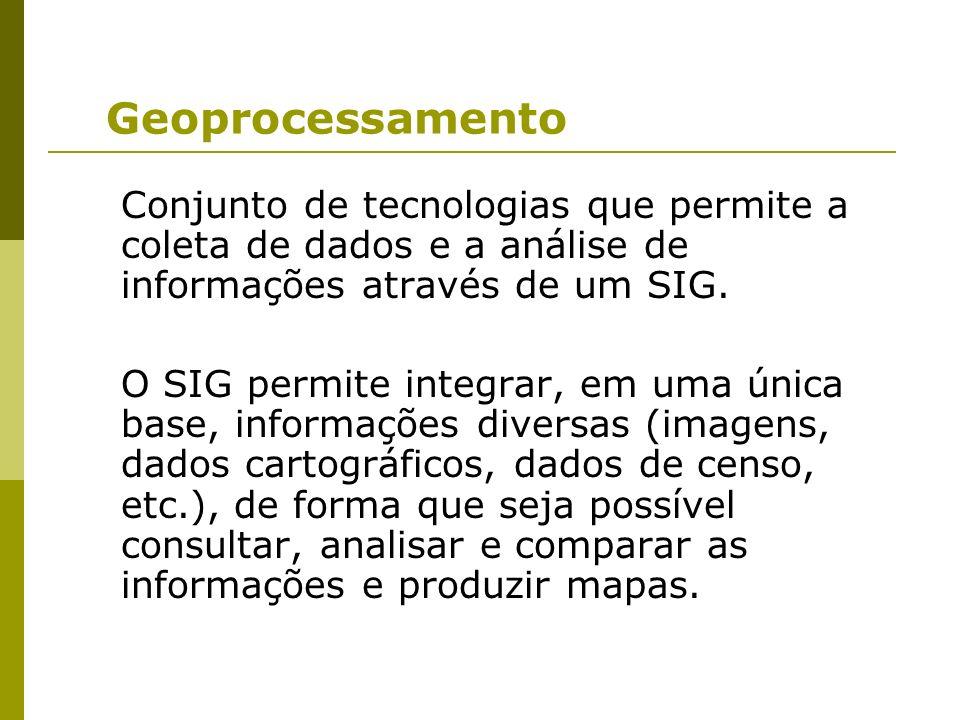 Geoprocessamento Conjunto de tecnologias que permite a coleta de dados e a análise de informações através de um SIG. O SIG permite integrar, em uma ún