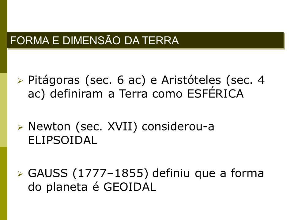 Pitágoras (sec. 6 ac) e Aristóteles (sec. 4 ac) definiram a Terra como ESFÉRICA Newton (sec. XVII) considerou-a ELIPSOIDAL GAUSS (1777–1855) definiu q