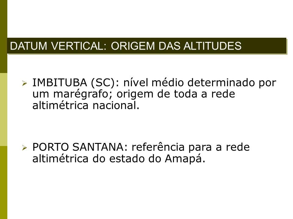 IMBITUBA (SC): nível médio determinado por um marégrafo; origem de toda a rede altimétrica nacional. PORTO SANTANA: referência para a rede altimétrica