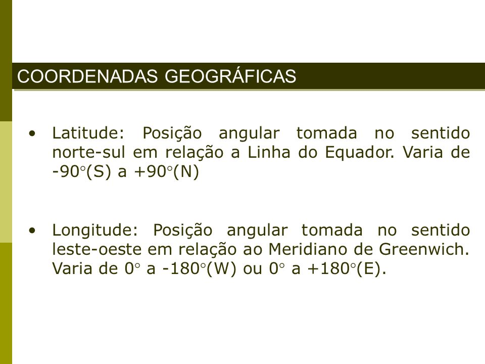 COORDENADAS GEOGRÁFICAS Latitude: Posição angular tomada no sentido norte-sul em relação a Linha do Equador. Varia de -90°(S) a +90°(N) Longitude: Pos