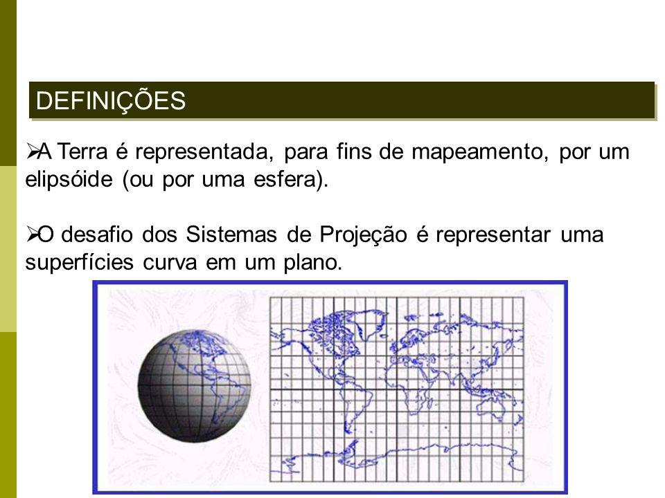 A Terra é representada, para fins de mapeamento, por um elipsóide (ou por uma esfera). O desafio dos Sistemas de Projeção é representar uma superfície
