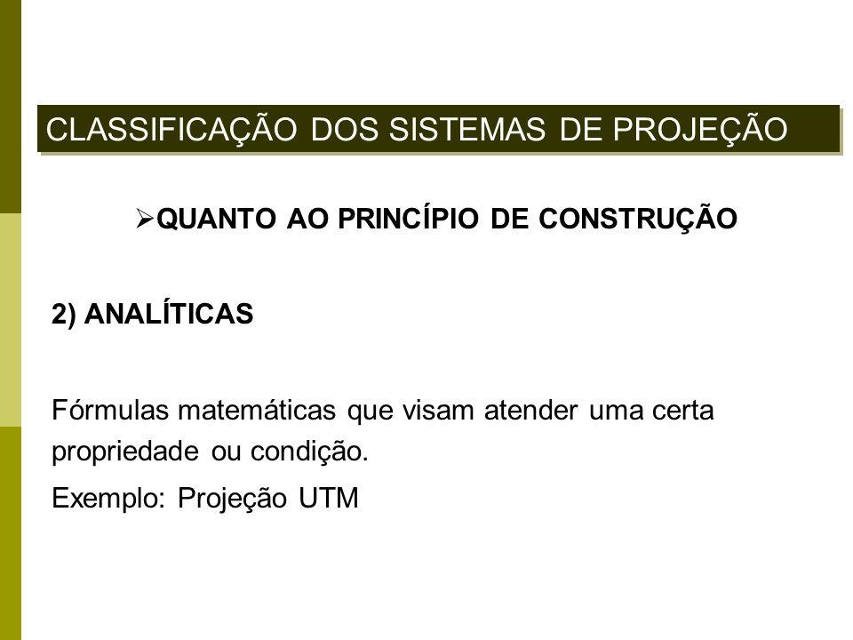 QUANTO AO PRINCÍPIO DE CONSTRUÇÃO 2) ANALÍTICAS Fórmulas matemáticas que visam atender uma certa propriedade ou condição. Exemplo: Projeção UTM CLASSI