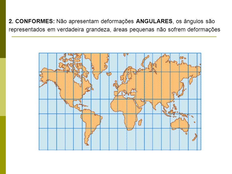 2. CONFORMES: Não apresentam deformações ANGULARES, os ângulos são representados em verdadeira grandeza, áreas pequenas não sofrem deformações