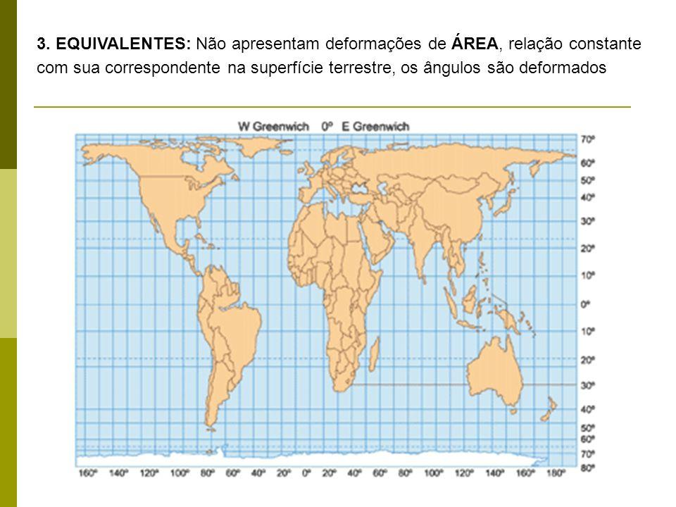 3. EQUIVALENTES: Não apresentam deformações de ÁREA, relação constante com sua correspondente na superfície terrestre, os ângulos são deformados