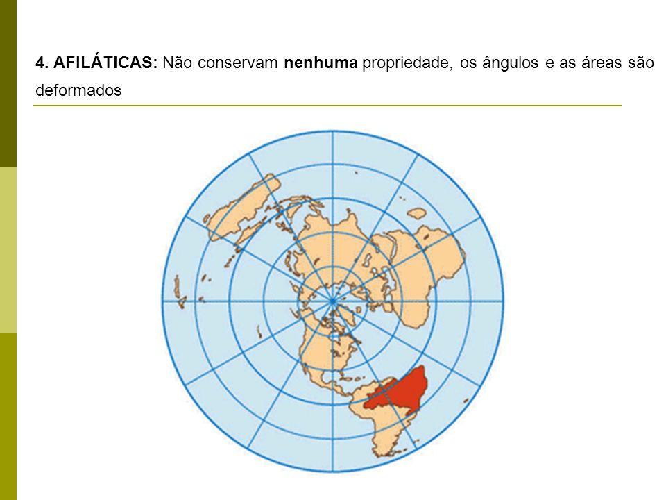 4. AFILÁTICAS: Não conservam nenhuma propriedade, os ângulos e as áreas são deformados