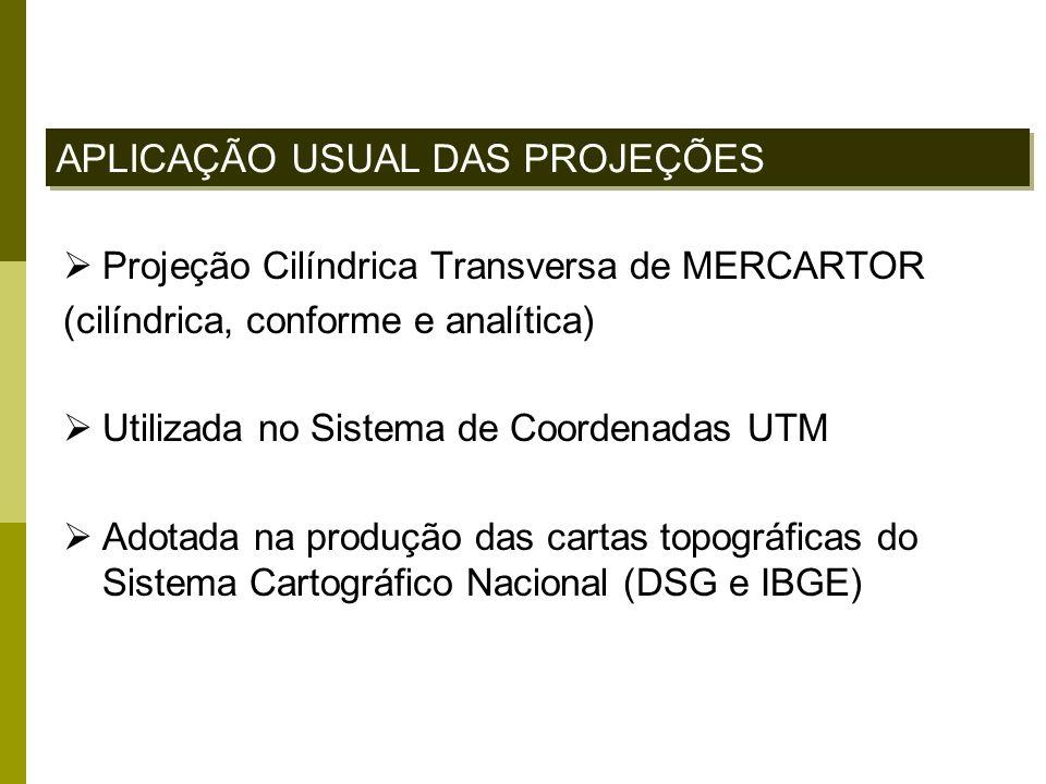 Projeção Cilíndrica Transversa de MERCARTOR (cilíndrica, conforme e analítica) Utilizada no Sistema de Coordenadas UTM Adotada na produção das cartas