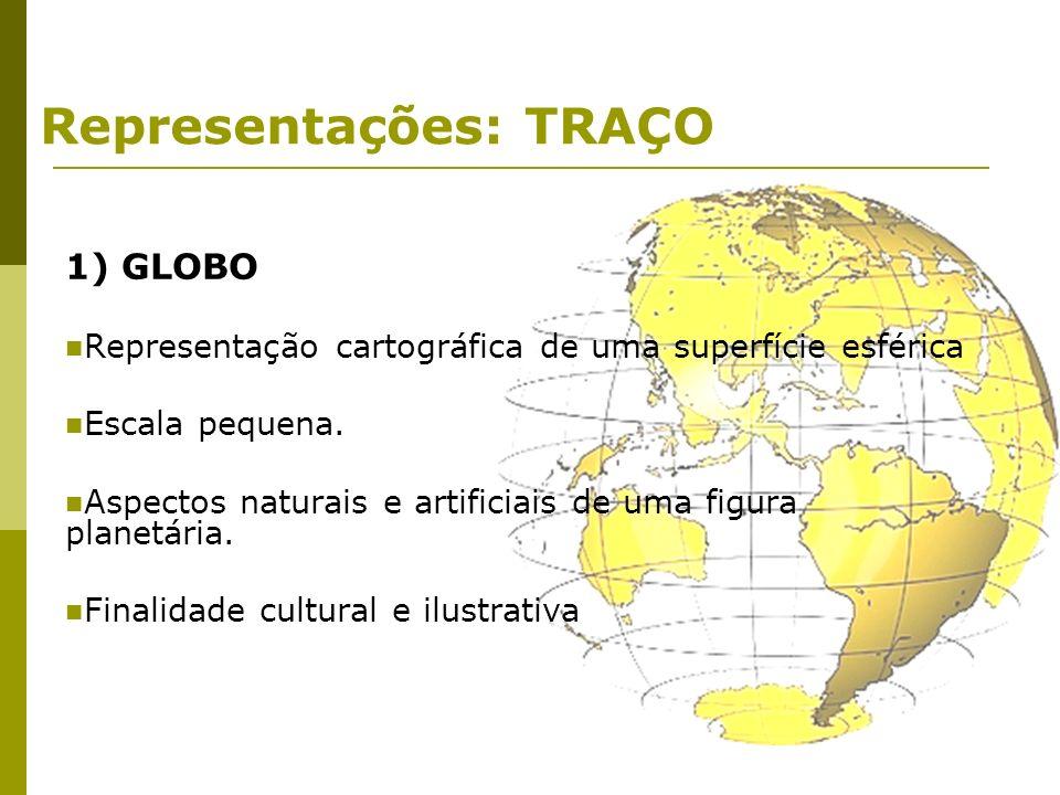 Representações: TRAÇO 1) GLOBO Representação cartográfica de uma superfície esférica Escala pequena. Aspectos naturais e artificiais de uma figura pla